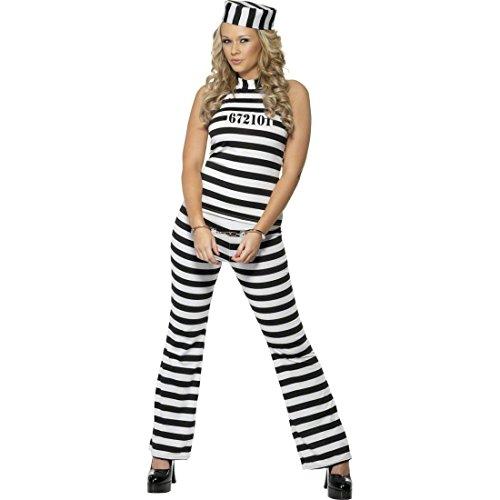 Damen Häftling Für Kostüm - NET TOYS Damen Kostüm Häftling Sträflingskostüm weiß schwarz M 40/42 Gefängniskostüm Häftlingskostüm Frauenkostüm Sträfling Knasti JGA Junggesellinnenabschied