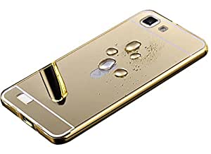 Droit Luxury Metal Bumper + Acrylic Mirror Back Cover Case For SamsungS6Edge Gold + Flexible Portable Thumb OK Stand by Droit Store.