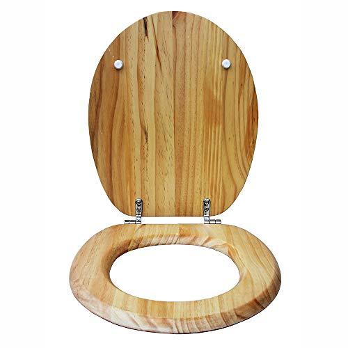 Lin-Yo WC Sitz mit Absenkautomatik,Toilettendeckel Große Auswahl Farbenfrohen WC-Sitzen aus Massivem Holz,Verstellbarer Scharnierdeckel für das Familienbadezimmer,Einfach zu Montieren