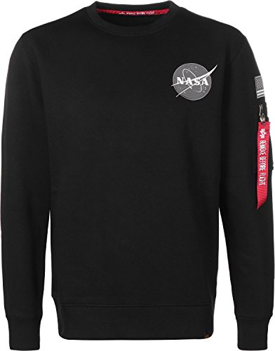 Alpha Industries Space Shuttle Sweater black (Logo-patch Schwarzes Sweatshirt Hoody)