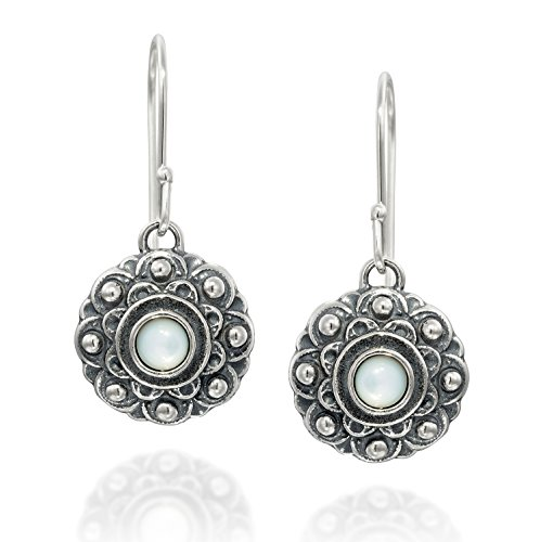 Antik Stil Blume aus Perlmutt Baumeln Ohrringe in 925Sterling Silber Elegante Damen Schmuck