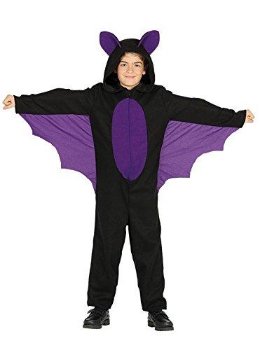 Guirca Fledermaus Kostüm mit Flügeln für Kinder Jungen Mädchen Halloween Schwarz Lila Kleid Gr. 98-146, ()