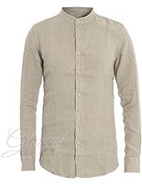 1551caca48 Giosal Camicia Uomo Tinta Unita Collo Coreano Beige Slim