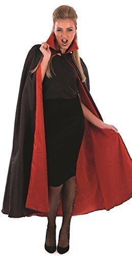 Herren Damen Halloween Schwarz & Rotes Dracula Vampir Mantel Umhang Kostüm Kostüm Outfit Zubehör (Damen Dracula Kostüme)