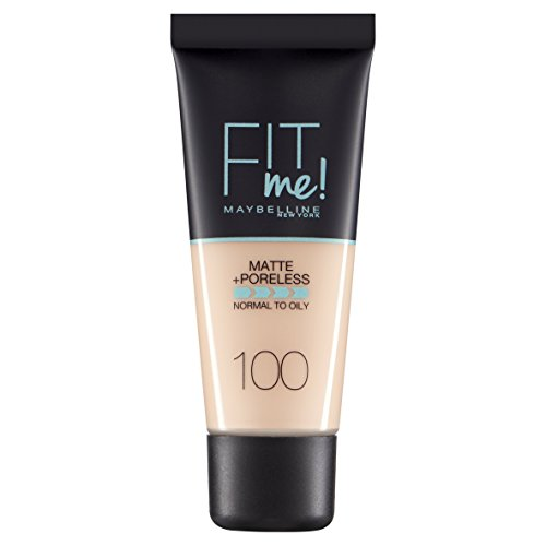 Maybelline Fit Me Foundation Matte&Poreless- 100 Warm Ivory - Foundation Tubo Líquido - base de maquillaje (Warm Ivory, Piel mixta, Piel normal, Piel grasosa, Mujeres, Tubo, Líquido, Matificante, Endurecimiento de poros)