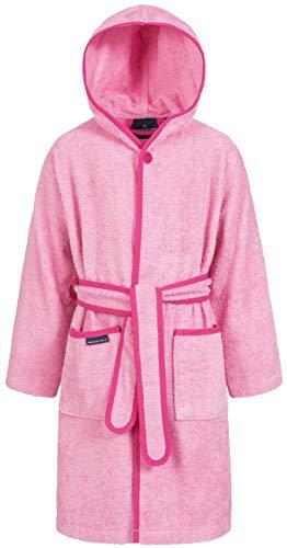 Morgenstern Baumwoll Kinderbademantel mit Kapuze einfarbig, Gr. 98/104,Rosa Pink (Baby-mädchen Bademantel)