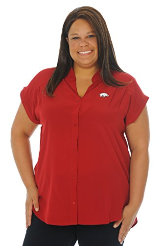 eeve Button-Down Tunika, Damen, Plus Size CeCe Top, Crimson/White, 3X (Plus Size Tops Für Junioren)