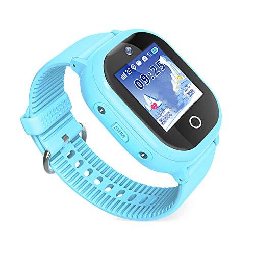 LXMT Kindertelefon und intelligentes genaues GPS-Verfolger-Telefon, Text/Sprachchat/Kamera/Alarm/Taschenlampe/mathematisches Spiel/Umweltmaterialtelefon-Uhr,Blue Unlocked Gsm Touchscreen