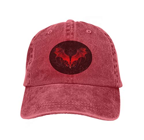 ap Cotton Adjustable Baseball Dad Hat red Dragon Wings Decorated Pattern Black Textural Background red ()