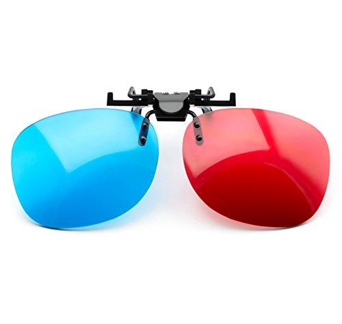PRECORN Occhiali 3D rosso blu per Portatori di occhiali Rosso/Ciano (occhiali 3D-Anaglifi) PC-Giochi