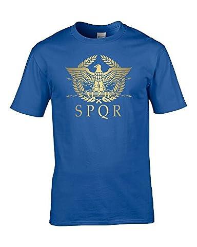 Empire SPQR- romains Doré métallisé Eagle- Cool Men's T-Shirt de Glace-Tees - Bleu - Large