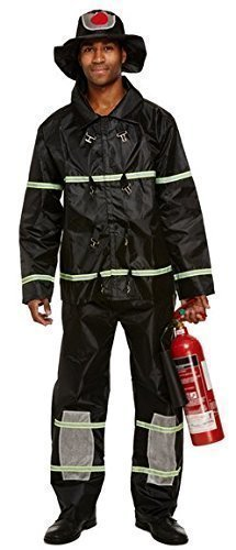 Herren schwarz Feuerwehrmann Rettungsdienste Uniform Kostüm Kleid Outfit