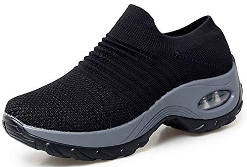 Sneakers Zeppa Donna Scarpe da Ginnastica Basse Corsa Sportive Fitness Running Mesh Air Scarpe Estive Primavera Casual All'Aperto Gym EU38.5/Etichetta 39