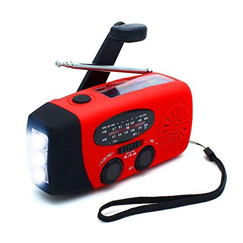 ANTOPM Solar Radio Solarradio mit Handkurbel, AM/FM Kurbelradio, Kurbeldynamo LED Taschenlampe Notfall Ernstfall Powerbank USB Handy Ladegerät für Camping, Outdoor, Notfall, Rot