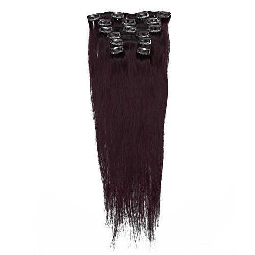 Grammy 20 Inch 7pcs Remy Clips in Human Hair Extensions 70g with Clips for Highlight (20 Inch, #99j Red Wine Burgundy) by Grammy (Extension Grammy Hair Human)