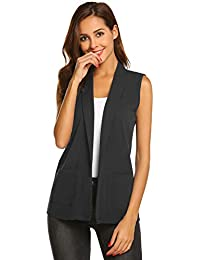 8eb4b83857ae89 Women Casual Sleeveless Open Front Waistcoat Solid Vest Jacket Pocket Top