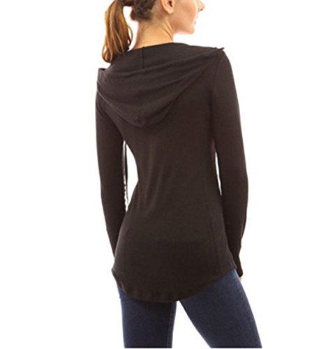 Fanmay Automne Femme Casual Col V Manche Longue T-Shirt Sweats à Capuche Longue Slim Sweatshirt Pullover Jumper Tops Irreguliere Noir