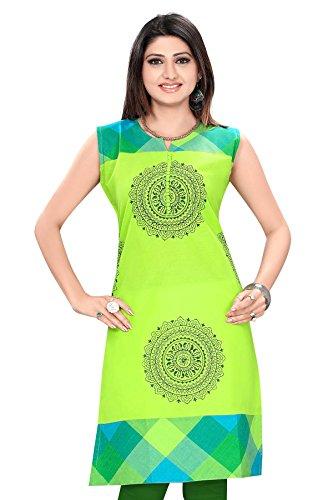 Plus Size Kurtis Long Pakistani Green Handloom Cotton Kurtis