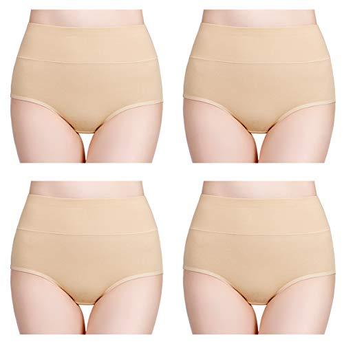 wirarpa Damen Unterhosen 4er Pack Panties Slips Damen Unterwäsche mit Hoher Taille Ultra Weich Taillenslip Hautfarbe Große Größe 3XL (Unterwäsche Damen-große Größen)