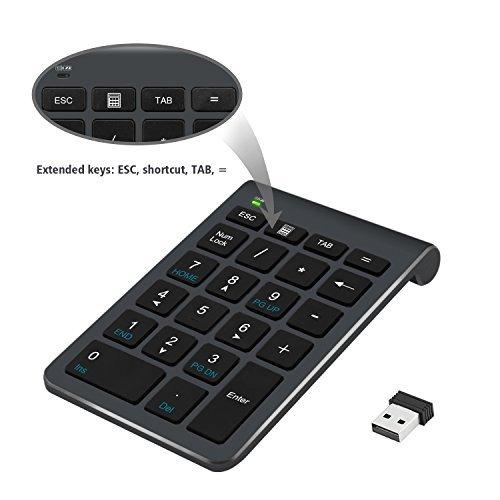 Teclado numérico inalámbrico, Alcey de 22 teclas con receptor Mini USB 2.4G para iMac, MacBooks, PC y portátiles – Negro