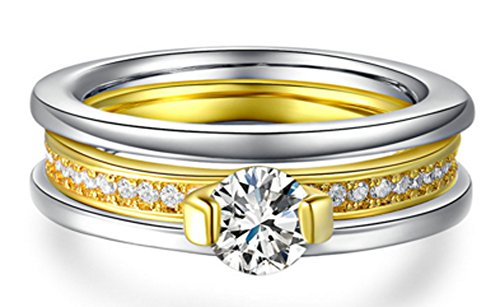 SaySure - 18K White Gold & Yellow Gold Plated AAA Round (SIZE : 7) (Band 18 K White Gold Wedding)