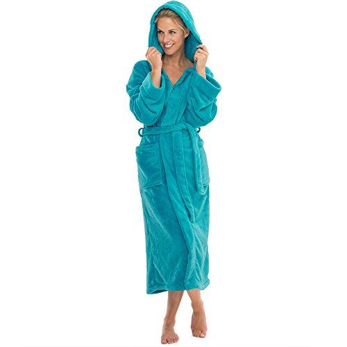 Bademantel mit Kapuze für Damen & Herren | alle Größen viele Farben | weiches und super flauschiges Coralfleece | aqua-textil 1000425 Serie Malibu S türkis