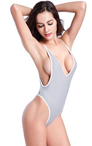 SHEKINI Damen Einteiliger Badeanzug Push up String Tanga Bikini Schwimmanzug Monokini (X-Small,Grau) (String Bikini Baumwolle)
