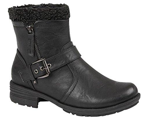 Donna Interna con zip e fibbia alla caviglia stivali Black