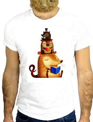 T SHIRT JODE Z257 CARTOON ANIMAL RICCIO TALPA TOPO MOUSE CURLY PET ANIMALS GGG24 BIANCA - WHITE