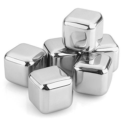 Uten® Edelstahl Metall Eiswürfel Whiskey Steine Getränk Kühler Cube Getränk Chiller Whisky Rocks Eis Steine ohne Verdünnung Geschenk-Set