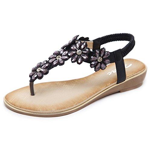 Zicac Damen Frauen Runde Clip Toe Elastische T-Strap Blume Strass Low Flache Heel Sandalen Sommer Strand Post Flip Flops Flache Schuhe (EU 39 (Asien Tag 40), Schwarz)