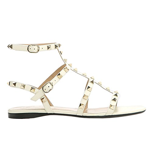 MERUMOTE Damen Y-178 Nieten Flache Heel Casual Sandalen Schuhe White