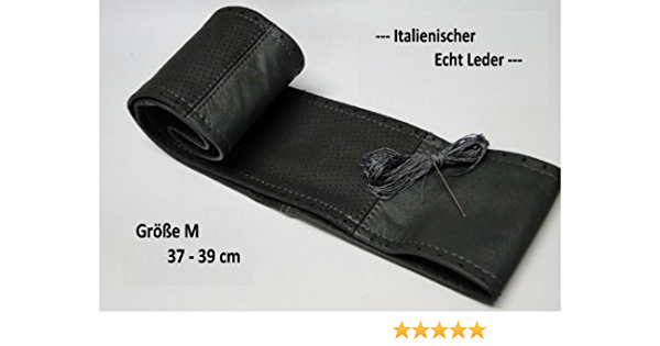Lenkradbezug Lenkradschoner Grau Dunkel Grau Teil Gelocht Echt Leder 37 39 Cm Zum Selber Schnüren Top Auto