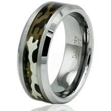 Banda anillo de boda del embutido de 8 mm de tungsteno carburo Ejército del camuflaje del