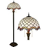 Lámparas de pie de estilo Tiffany Luces de piso para sala de estudio de dormitorio de sala de estudio de estilo de sala de estudio de color blanco mediterráneo Luces de piso, luz de pie de cremallera