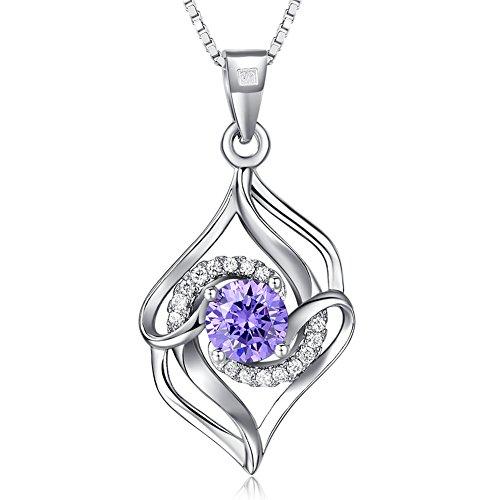 Joyfulshine Mujeres 925 Collar de Plata de ley Colgante de Circonio Cúbico con Diamante para las Niñas de las Señoras