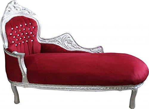 Casa Padrino Barock Chaiselongue 'King' Bordeaux Rot/Silber mit Bling Bling Glitzersteinen Mod2