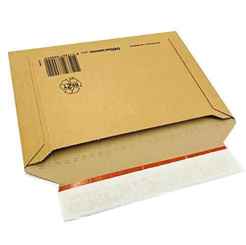 Versandtasche aus Wellpappe, DIN B4, 360 x 250 x bis 30 mm, 100 Stück braun