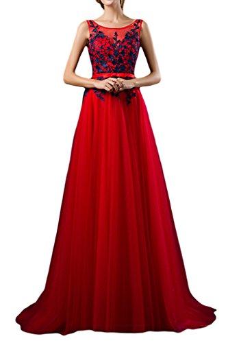 Sunvary una linea appliques garza lunga della madre della sposa abito da sposa fiesta Rosso