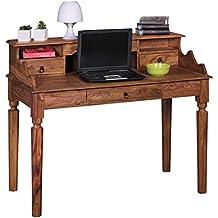 Escritorio Kada Madera Sheesham | Secreter 115x 100x 60cm, con 3cajones, Consola mesa de estilo rústico