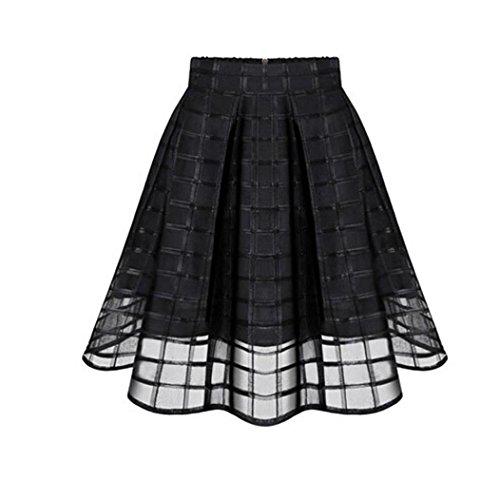 (Mitlfuny Damen Rock Knielang mit Passendem Schal Halstuch Tellerrock 50er Jahre Stil Mode Kostüm Rockabilly Hohe Taille Reißverschluss Damen Tüll Rock)