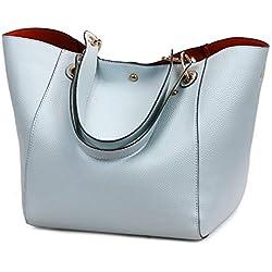 Pahajim bolsos de totalizador de las mujeres de los bolsos de la prenda impermeable del cuero de la PU de la moda (Azul Claro)