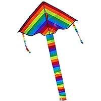 Everpert Dreieck Regenbogen Drachen Outdoor Spielzeug Drachen Fliegender Frühling für Kinder Erwachsene ohne Schnur