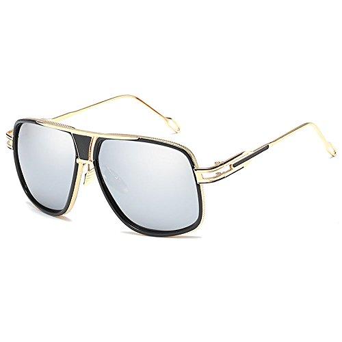 SHEEN KELLY Oversized Super Große Sonnenbrille Damen Großen Brille Square Piloten Retro Metall Rahmen für Herren Sonnenbrille Spiegel BRILLE Silber