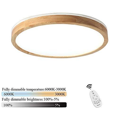 Dimmbar LED Deckenleuchte 60W Modern Runde Dekorative Holz Wohnraumleuchten mit Fernbedienung Acryl Lampenschirm Kreative Innen Decke Schlafzimmer Küche Kinderzimmer Balkon Bad Beleuchtung, Ø60CM - Kronleuchter 60w Art
