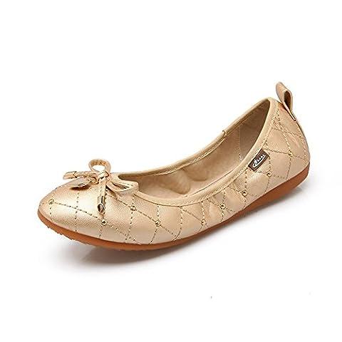 Meeshine Women Ballet Flats Pumps Foldable Shoes Gold 5 UK