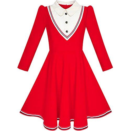 Mädchen Kleid Schule Uniform Weiß Kragen Rot Lange Ärmel Gestreift Gr. 134