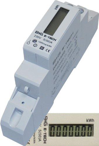 B+G E-Tech DRS155D - LCD digitaler Wechselstromzähler Stromzähler Wattmeter 5(50) A für Hutschiene mit S0 Schnittstelle 1000imp./kWh Digital-lcd