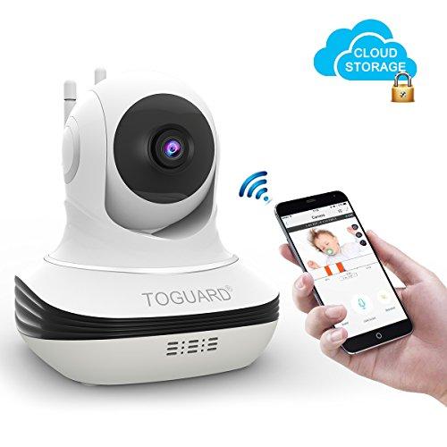 TOGUARD WLAN Überwachungskamera Cloud Speicher, Wireless WLAN IP Kamera, mit Nachtsicht Bewegungserkennung Zwei-Wege-Audio, Baby-Monitor (Wlan-camcorder-mikrofon)