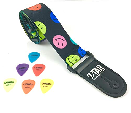 Farbe Lächeln Gesicht Design Elektro-Akustik Gitarren-Gurt mit verstellbaren Länge & 6 freie Plektren